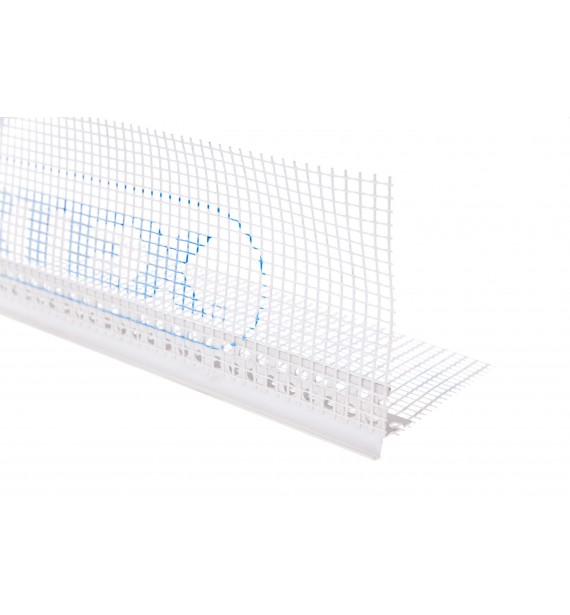 LT drip edge PVC with mesh - fully plasterable, with plaster edge