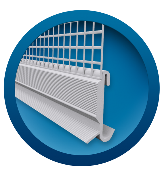 PVC clip on profile with mesh for starting set